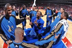 Gilbert Arenas mocked the locker room incident shortly after during pre-game warm ups.